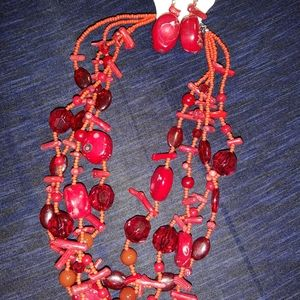 CHUNKY RED NECKLACE SET GEMSTONES/CORAL